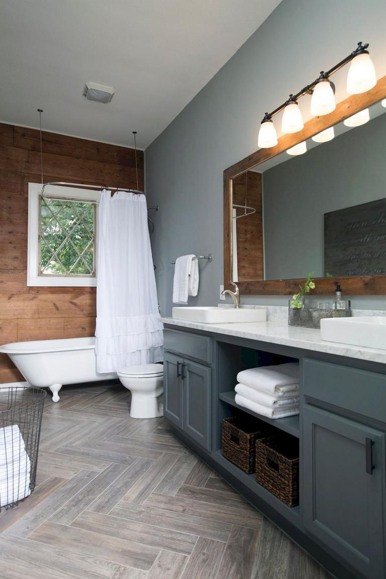 47+ Awesome Farmhouse Bathroom Tile Floor Decor Ideas and ... on Farmhouse Tile  id=50594