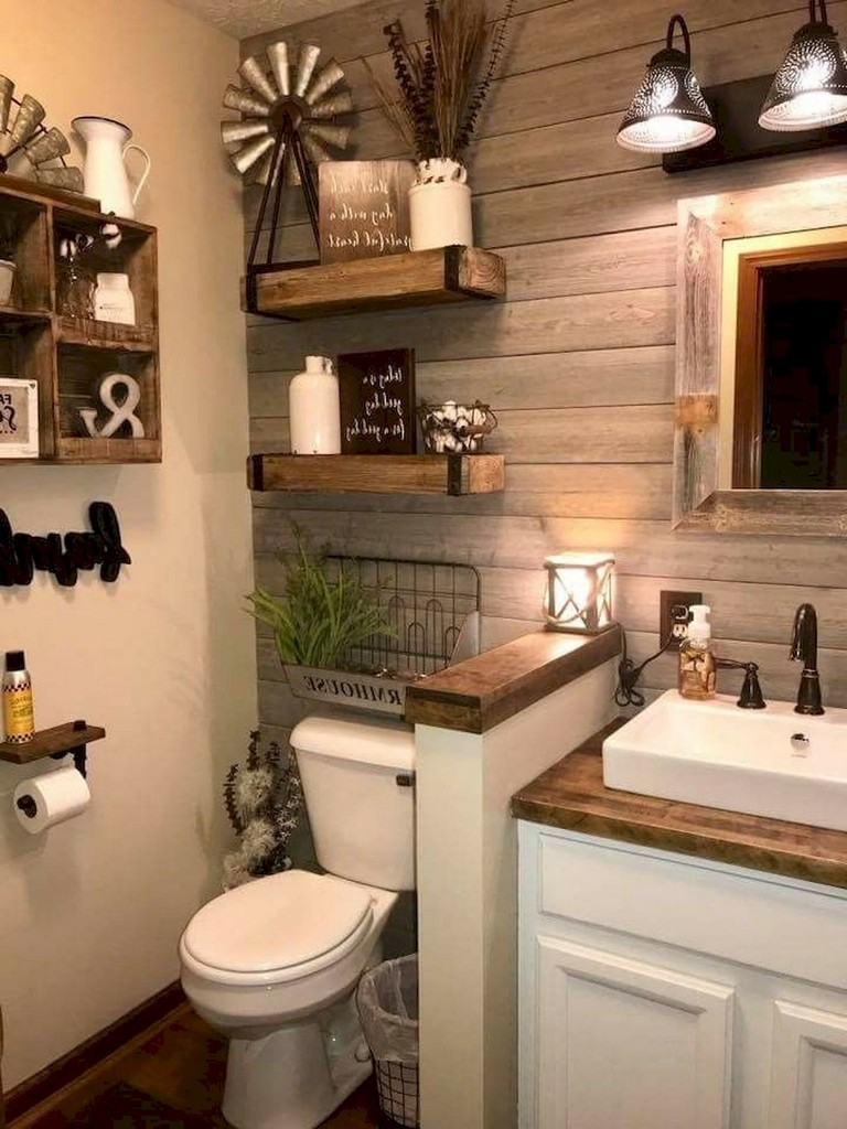 73+ Awesome Farmhouse Rustic Master Bathroom Remodel Ideas ... on Farmhouse Bathroom Remodel Ideas  id=71104